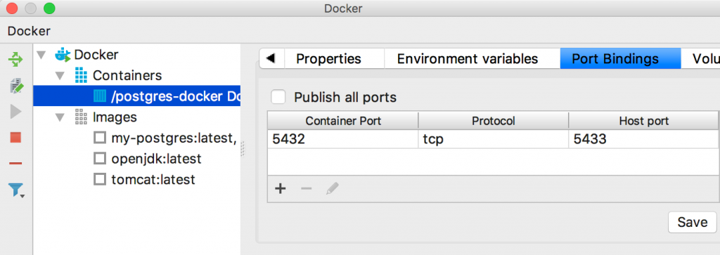 IntelliJ Docker plugin showing port bindings