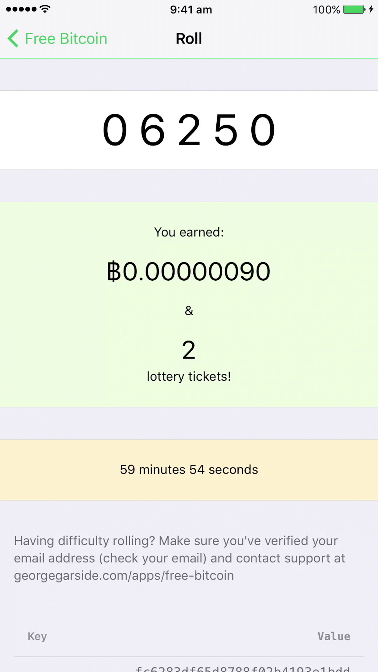 Rolled random number for bitcoin faucet