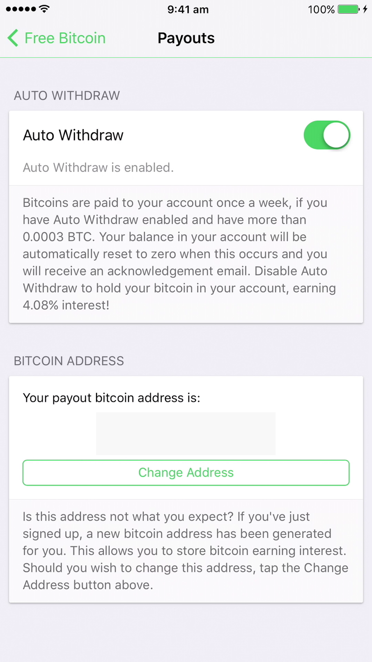 Payout your bitcoin to your bitcoin address
