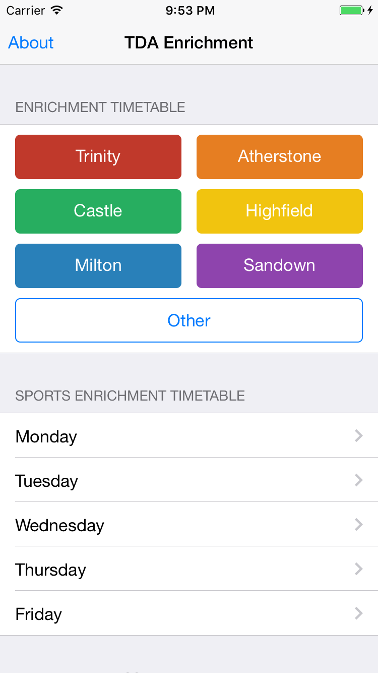TDA Enrichment app home screen