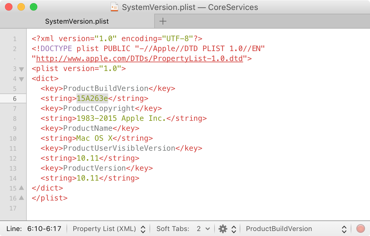 SystemVersion.plist OS X 10.11