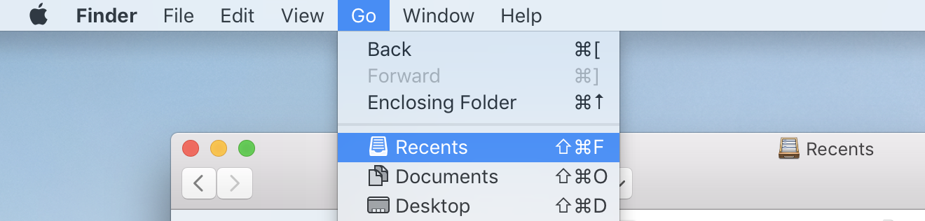 All My Files renamed to Recents in High Sierra Finder