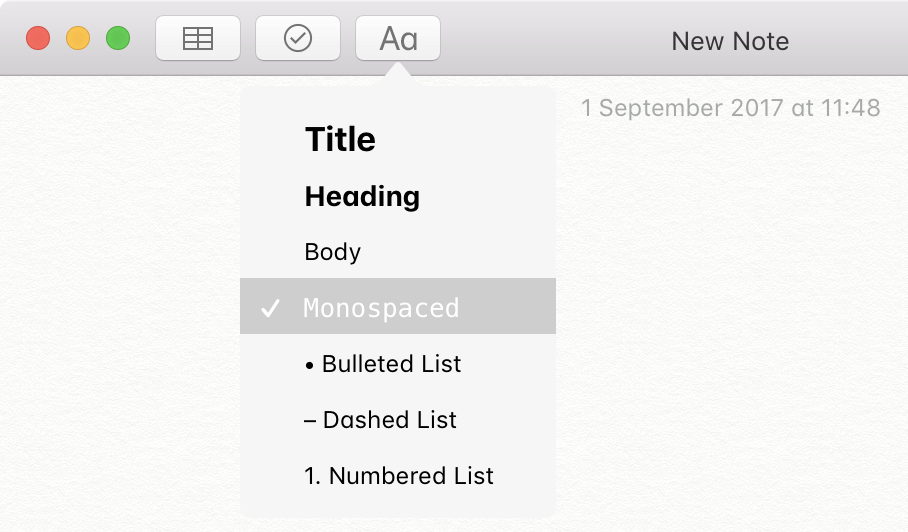 Notes.app monospaced format font in macOS