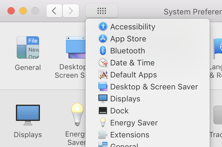 System Preferences show all button hold function to show all preference panes list