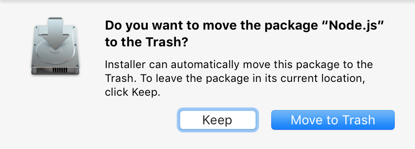 Move installer.app package to trash on completion