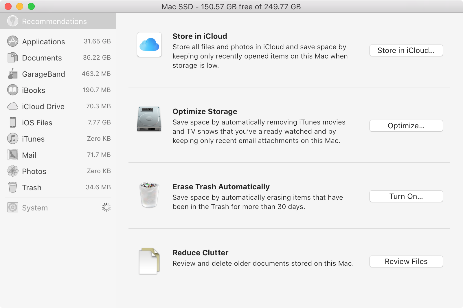 macOS Sierra Manage Storage System Information