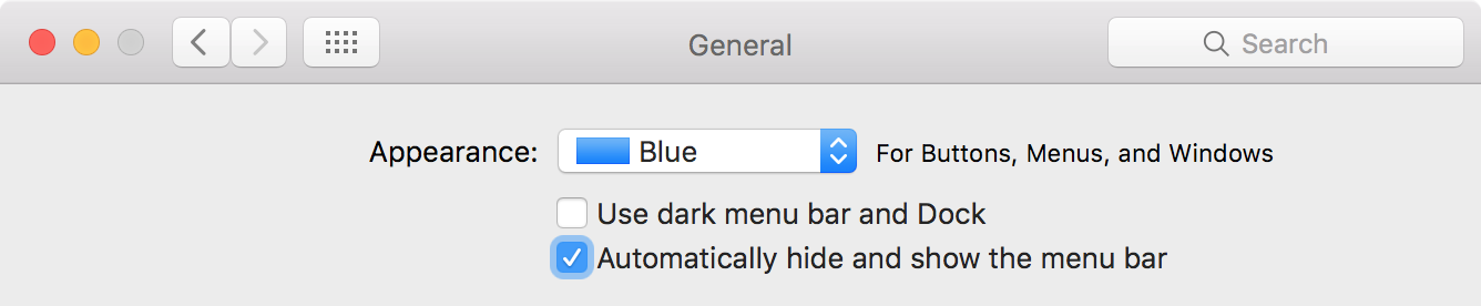 Automatically hide and show the menu bar