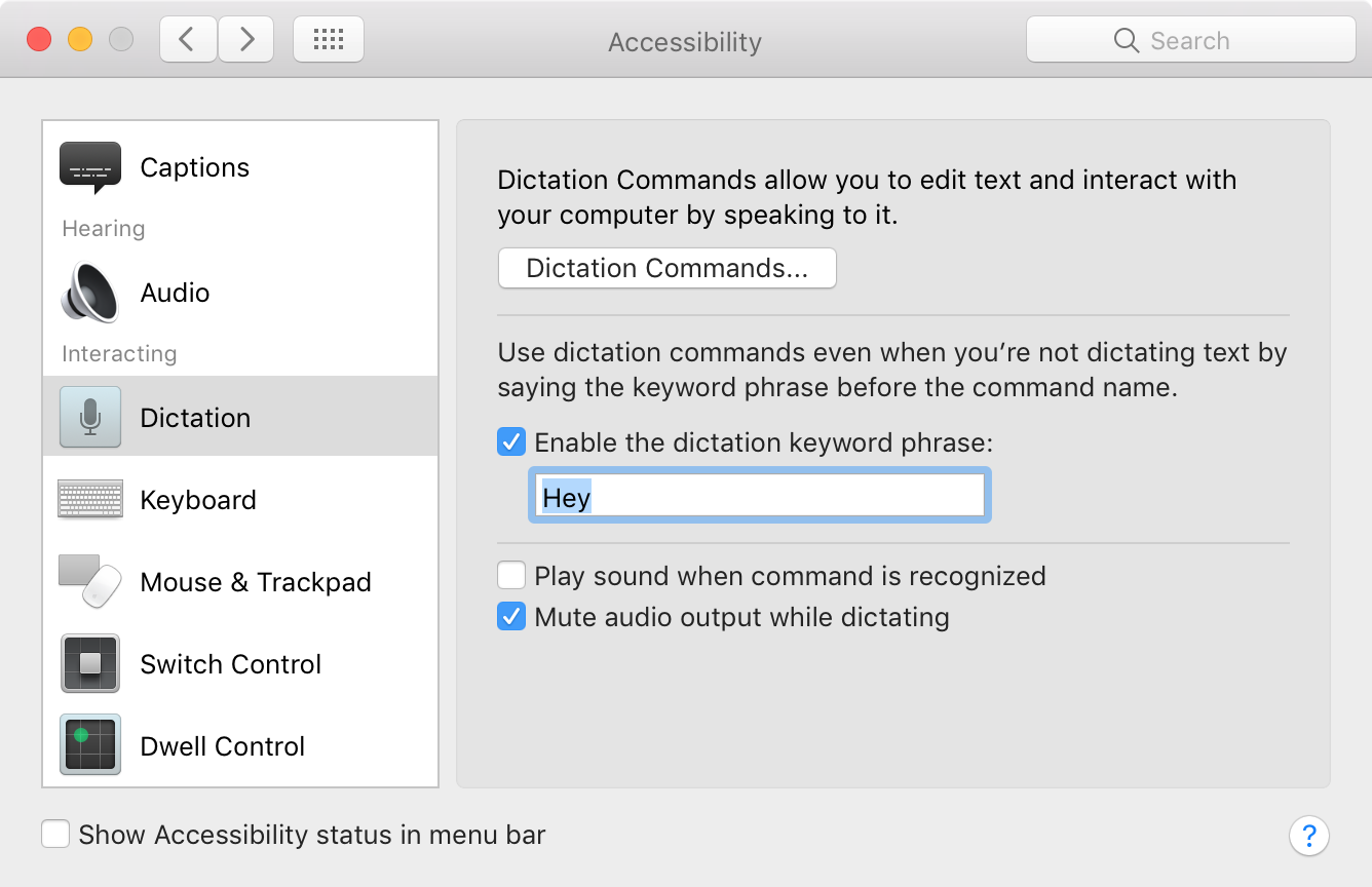 Accessibility Dictation settings in System Preferences in macOS for enabling Hey Siri in Sierra