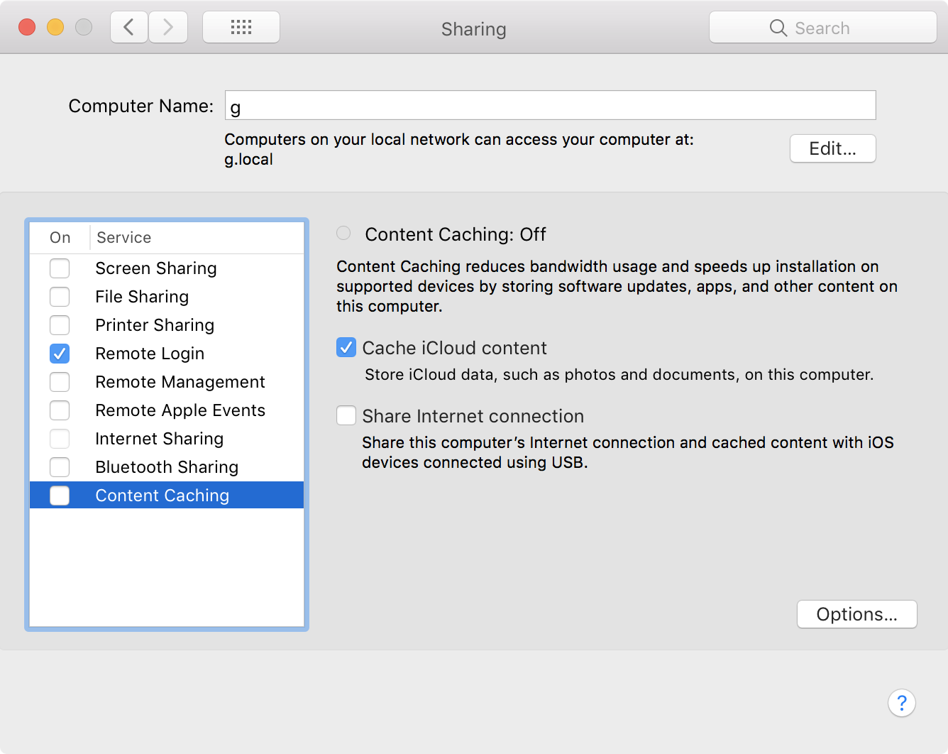 Content caching in Sharing.prefpane for macOS High Sierra