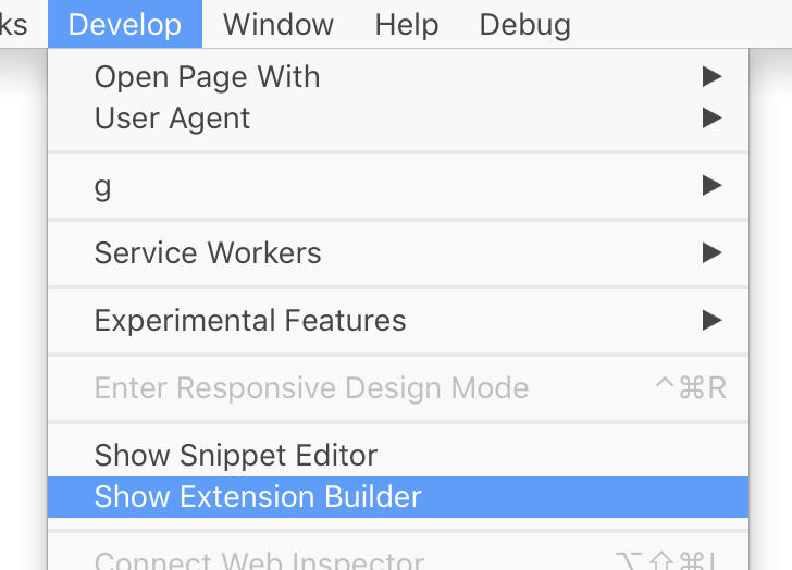 Safari Develop menu with Show Extension Builder highlighted