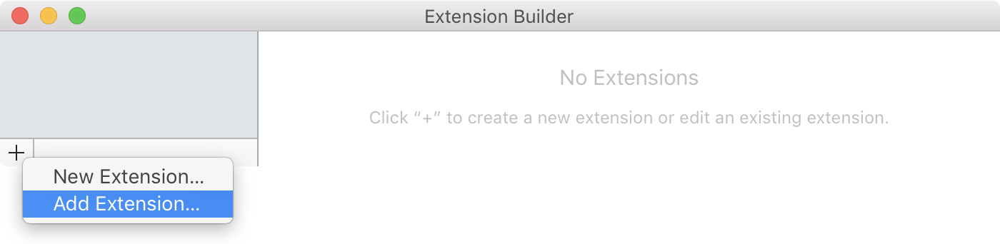 Extension Builder with Add Extension menu option from plus button