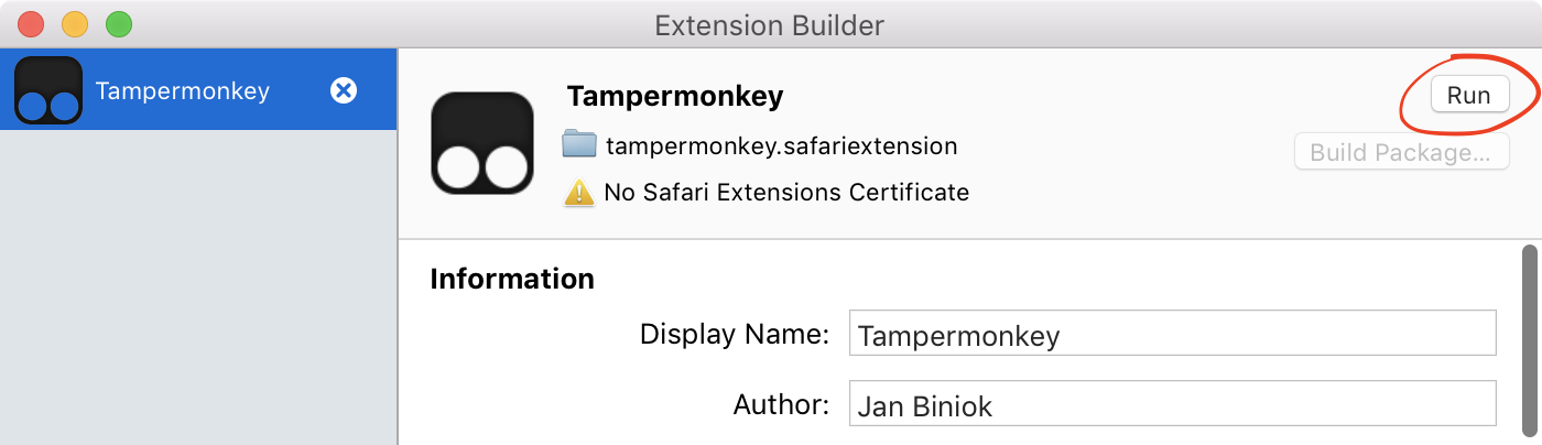 Extension Builder showing one extension just added