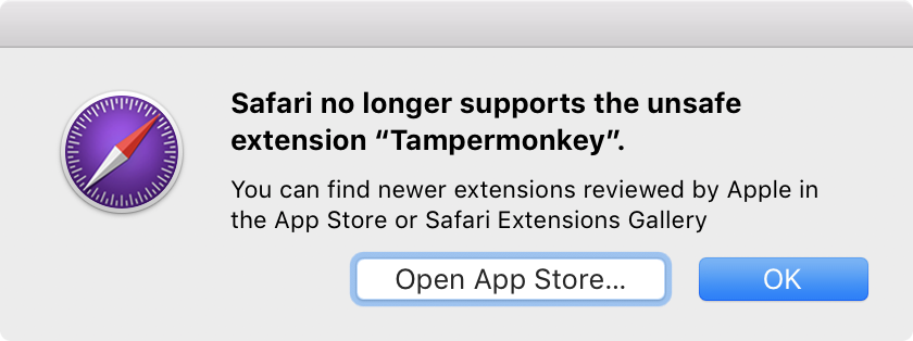 Safari no longer supports the unsafe extension