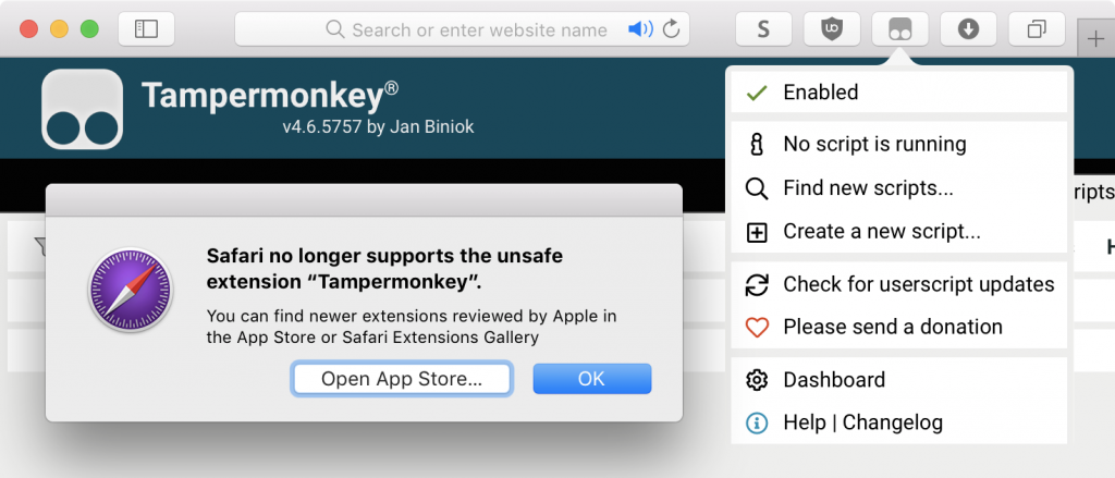 Safari error message 'Safari no longer supports the unsafe extension Tampermonkey' with Tampermonkey showing in the background having been installed successfully