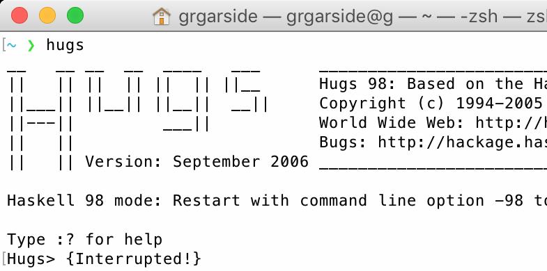 Hugs 98 in macOS Terminal