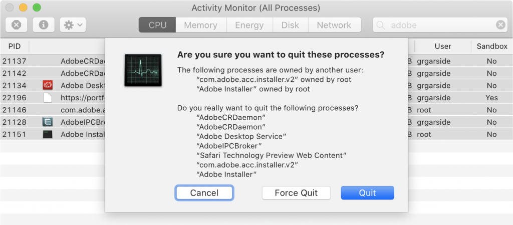 Activity Monitor quit multiple processes