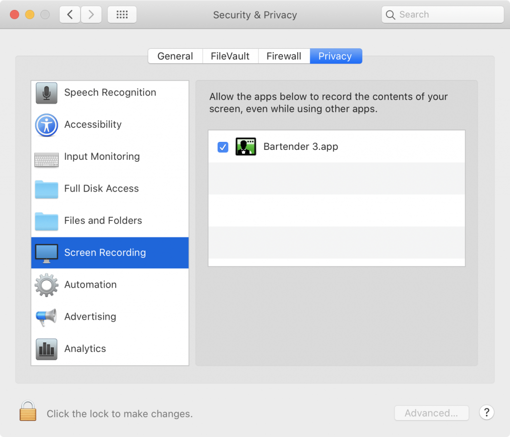 System Preferences Privacy Screen Recording