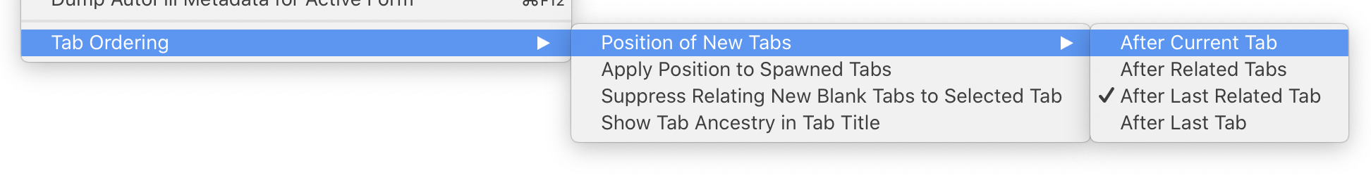 Tab Ordering > Position of New Tabs > After Current Tab