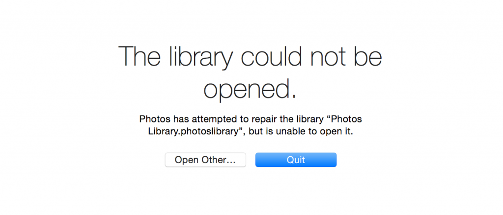 Photos.app could not open the library