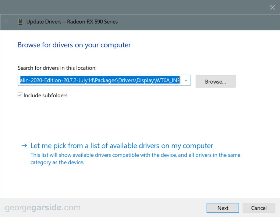 Device Manager browse for driver