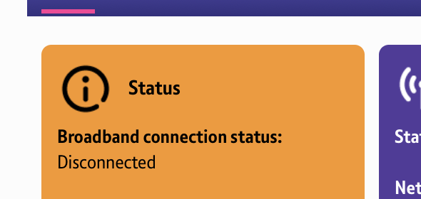 BT Hub Broadband connection status: Disconnected