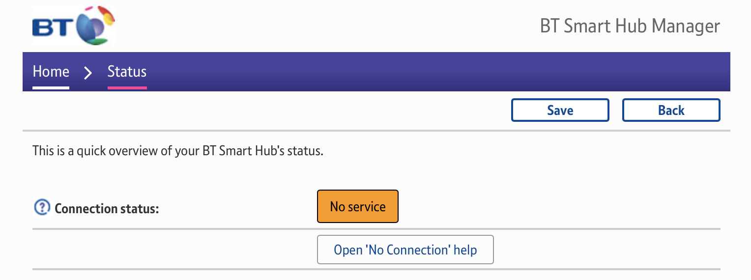 BT Smart Hub Connection status: No service, Open no connection help