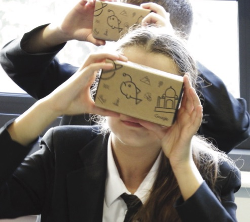A student looks through Google Expeditions