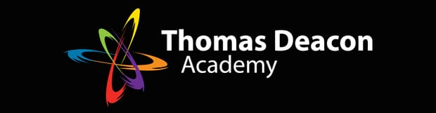 Thomas Deacon Academy logo with TDA atom on black background